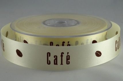 15mm & 24mm Cream Cafe with Cocoa Bean Ribbon x 50 Metre Rolls!!