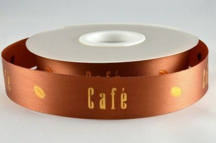 15mm & 24mm Brown Cafe with Cocoa Bean Ribbon x 50 Metre Rolls!!