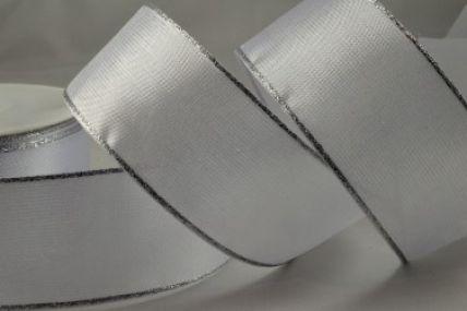 40mm White Organza Ribbon with Silver Lurex Edge x 20 Metre Rolls!!