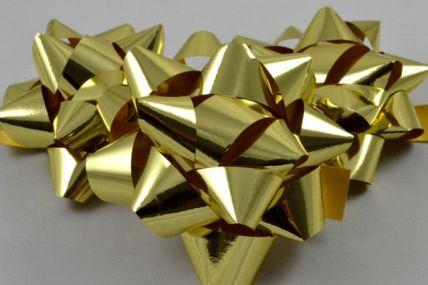31160 - Set of 6 Gold Metallic Self Adhesive Gift Bows