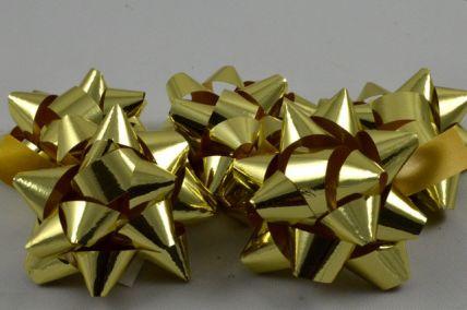 Set of 9 Gold Metallic Self Adhesive Gift Bows