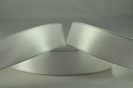 25mm White Wired Single Faced Satin Ribbon x 20 Metre Rolls!!