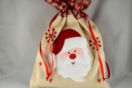 Natural Fabric Christmas Santa Gift Bag x 1 Piece!