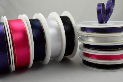3mm, 10mm, 15mm & 25mm Single Satin Ribbon with Gold Lurex Edge!