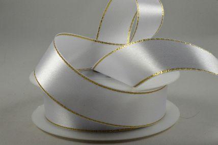 10mm White Single Satin Ribbon with Gold Lurex Edge x 25 Metre Rolls!