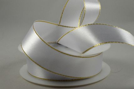 15mm White Single Satin Ribbon with Gold Lurex Edge x 25 Metre Rolls!