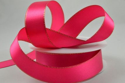 3mm, 10mm, 15mm & 25mm Pink Single Satin Ribbon with Lurex Edge x 25/50 Metre Rolls!
