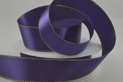 25mm Cadbury Purple Single Satin Ribbon with Gold Lurex Edge x 25 Metre Rolls!