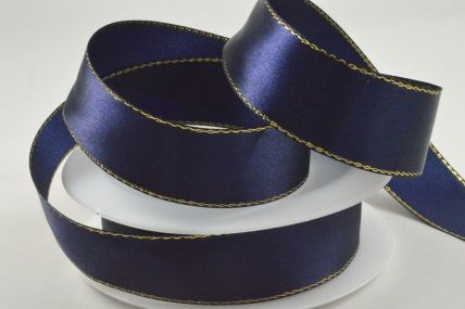 3mm, 10mm, 15mm & 25mm Navy Blue Single Satin Ribbon with Gold Lurex Edge!