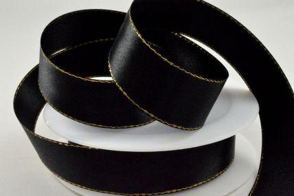 3mm, 10mm, 15mm & 25mm Black Single Satin Ribbon with Gold Lurex Edge x 25/50 Metre Rolls!