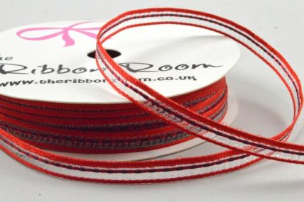 6mm Red Central Woven Striped Ribbon x 5 Metre Rolls!