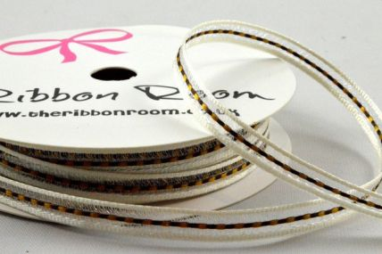 6mm Cream & Gold Central Woven Striped Ribbon x 5 Metre Rolls!