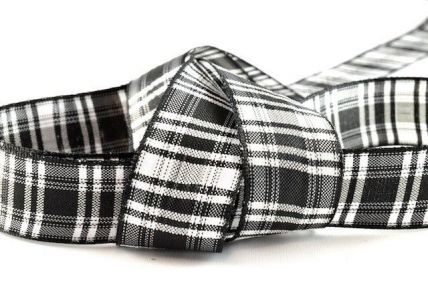 16mm, 25mm & 38mm Black & White Tartan Ribbon x 100 Metre Rolls!