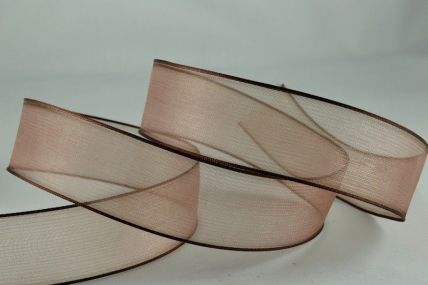 25mm & 40mm Brown Wired Sheer With Coloured Edge Ribbon x 25 Metre Rolls!!