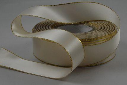 25mm Cream Double Sided Satin Ribbon & Gold Lurex Edge x 20 Metre Rolls!