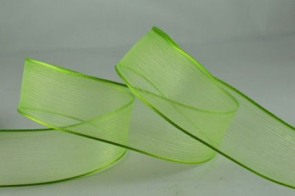 25mm & 40mm Green Wired Sheer With Coloured Edge Ribbon x 25 Metre Rolls!
