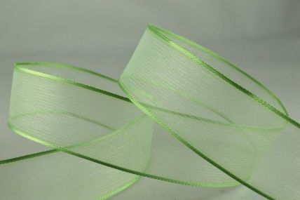 25mm & 40mm Pale Green Wired Sheer With Coloured Edge Ribbon x 25 Metre Rolls!