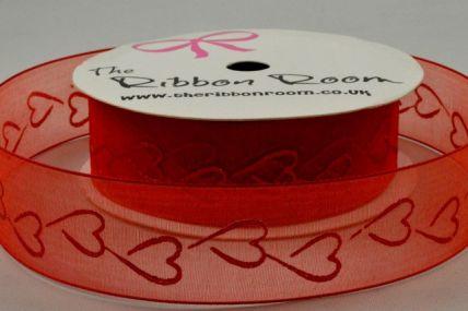 25mm Red Sheer Heart Printed Ribbon x 4 Metre Rolls!