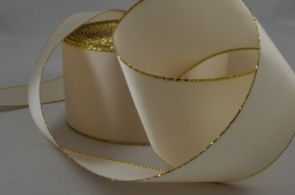 50mm Cream Ribbon with a Gold Lurex Edge x 20 Metre Rolls!