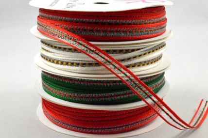 6mm Central Woven Striped Ribbon x 5 Metre Rolls!
