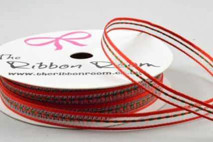 6mm Red & Green Central Woven Striped Ribbon x 5 Metre Rolls!