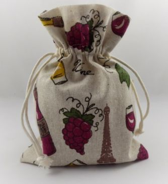 Wine, Grapes & Bottles Decorative Pouch Drawstring Gift Bag!!