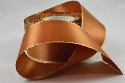 40mm Dark Gold Double Satin Ribbon & Gold Lurex Edging x 20 Metre Rolls!