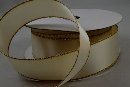Y20 - 30mm Cream Ribbon & Gold Lurex Edging x 20 Metre Rolls!