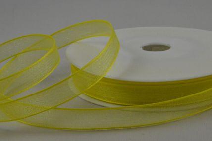 Y225 - 9mm Yellow Sheer Organza Ribbon x 25 Metre Rolls!