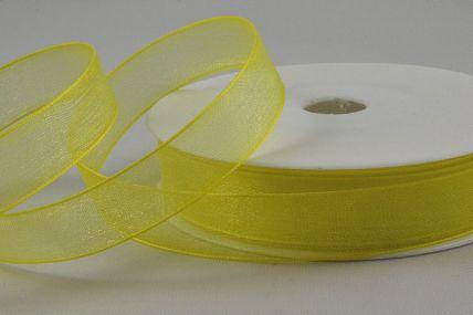 Y226 - 15mm Yellow Sheer Organza Ribbon x 25 Metre Rolls!