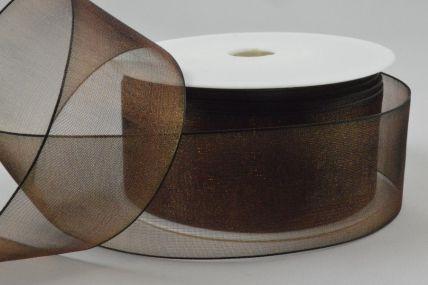 Y244 - 40mm Brown Sheer Organza Ribbon x 25 Metre Rolls!