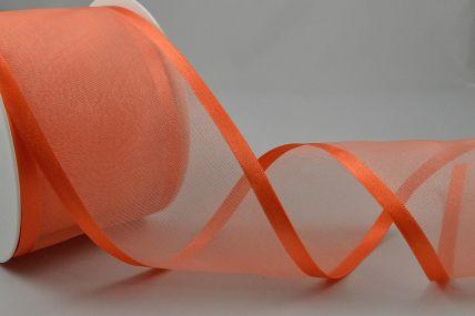 Y263 - 70mm Orange Satin Sheer Ribbon x 25 Metre Rolls!