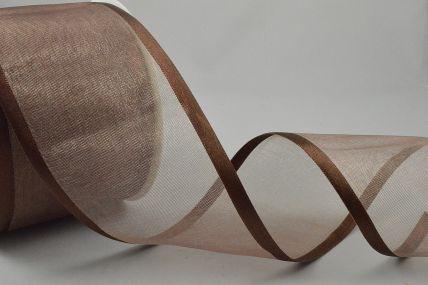 Y268 - 70mm Brown Satin Sheer Ribbon x 25 Metre Rolls!