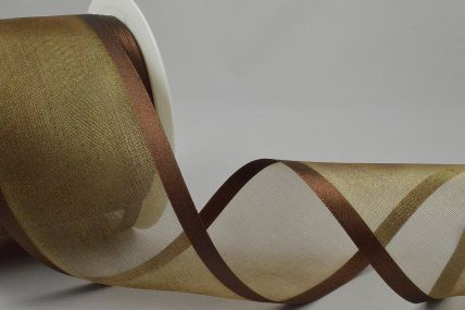 Y271 - 70mm Brown Satin Sheer Ribbon x 25 Metre Rolls!