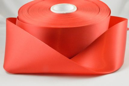 63mm Red Single Faced Satin Ribbon x 100 Metre Rolls!