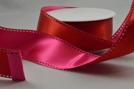 Y65 - 40mm Wired Pink & Red 50/50 Filmstrip Ribbon x 10 Metre Rolls!