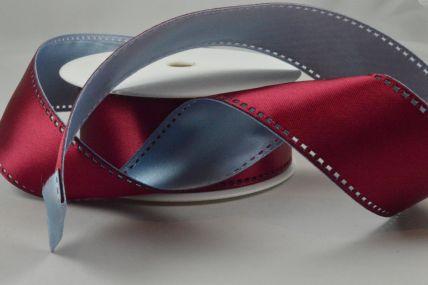 40mm Wired Burgundy & Baby Blue 50/50 Filmstrip Ribbon x 10 Metre Rolls!