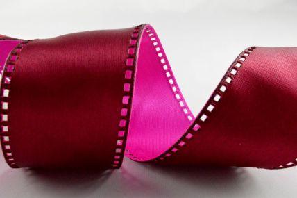 40mm Wired Pink & Burgundy 50/50 Filmstrip Ribbon x 10 Metre Rolls!