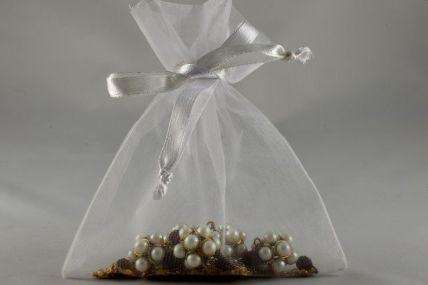 Set of 12 White Organza Bags - 12.5cm x 15.5cm
