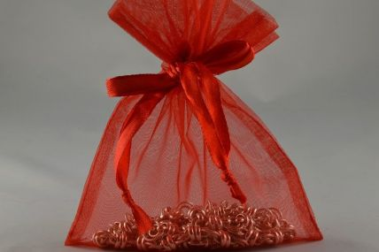 Set of 12 Red Organza Bags - 12.5cm x 15.5cm
