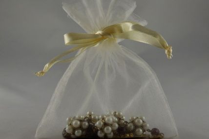 Pack of 12 Cream Organza Bags