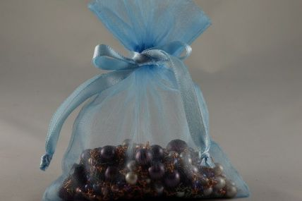 Pack of 12 Baby Blue Organza Bags