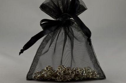 Pack of 12 Black Organza Bags